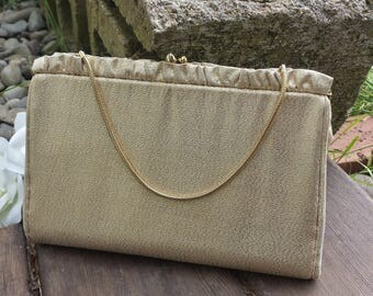 Harry Levine gold clutch/wedding clutch/evening clutch/60's clutch/vintage clutch/gold 60's clutch/gifts for her
