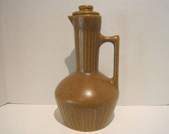 Monmouth Pottery Carmel Pitcher Carafe Maple Leaf Stamp Ceramic Pottery