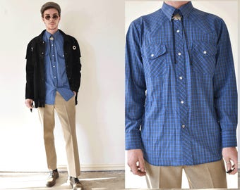 Authentic Western Medium Plaid Shirt With Opalescent Snap Buttons
