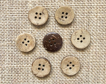 Coconut Buttons, 17mm Buttons, .67in Coconut Buttons, 1.7cm Coconut Buttons, 4 Hole Buttons, Small Buttons, Craft Buttons, Sewing Buttons
