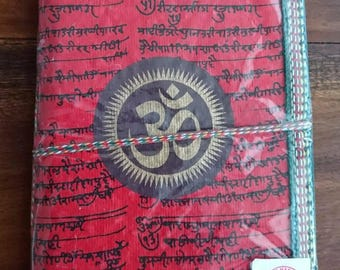Indian notebook, travel journal, blank notebook, om, gifts for her