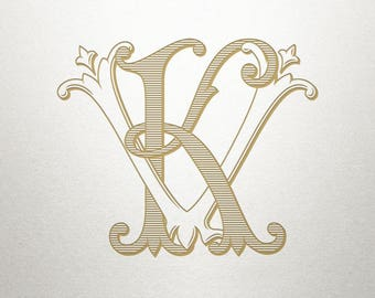Royal Monogram Design - KV VK - Royal Monogram - Digital
