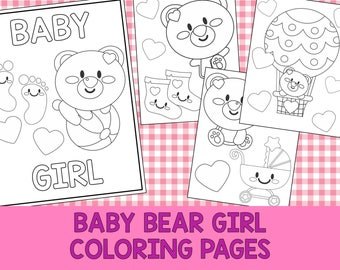 Baby Bear Girl Coloring Book Pages