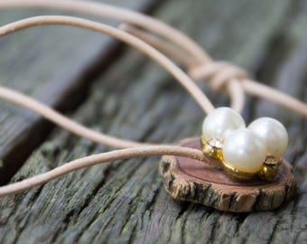 Handmade Reclaimed/Salvaged Wood Pearl Rhinestone Pendant & Necklace with Cream Leather Cord eco friendly boho statement OOAK live bark edge