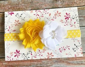 Yellow Headband/Yellow Baby Headband/Baby Headband/Baby Girl Headband/Newborn Headband/Infant Headband/Girl Headband/Flower Headband/Baby