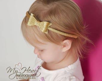 READY TO SHIP Gold Hard Headband, Gold Headband, Gold Glitter Bow Headband, Plastic Headband, Sparkle Bow, Girls Headband, Toddler Headband