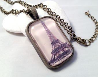 Vintage Eiffel Tower necklace - bronze