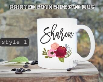Custom Mug,Personalized mug,floral mug,blogger,props,bridesmaid mug,Flay Lay Props,Instant Props,custom name mug,wedding photograph props