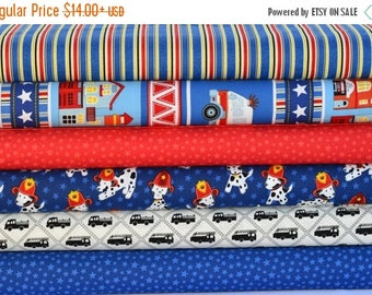 Sale Firehouse Friends Bundle by Benartex, 6 different fabrics, Fire Trucks, Fire Dogs, Dalmation