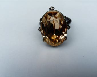 ring swarovski crystal light peach