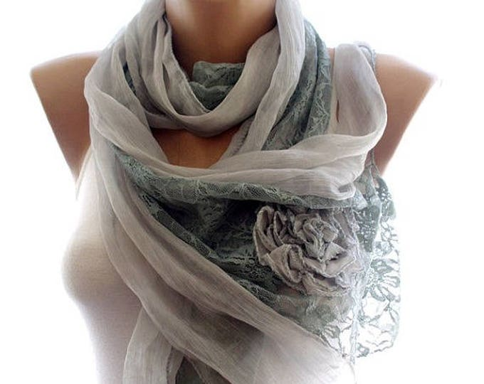 Lace scarf, gray lace scarf,scarves for women, soft scarf, cozy scarf, trendy scarf