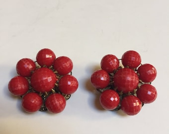 Red Bead Clip On Earrings - Germany