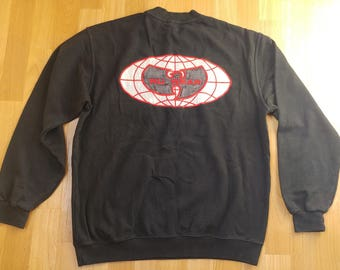 WU WEAR sweatshirt, vintage black jacket sewn, official authentic Wu Tang Clan, 90s hip-hop clothing, 1990s gangsta rap, OG size L Large