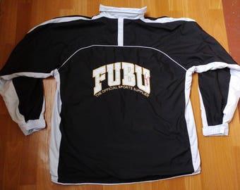 FUBU jacket, vintage Fubu windbreaker, 90s old school hip-hop clothing, 1990s hip-hop, gangsta rap, black color jersey, size XL