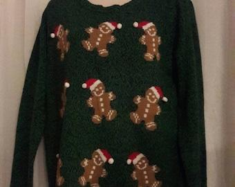 Ugly Cute Vintage Christmas Sweater Gingerbread Men Medium