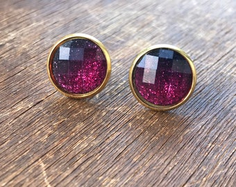 12 mm Pink/ Black Sparkly Ombre Earrings