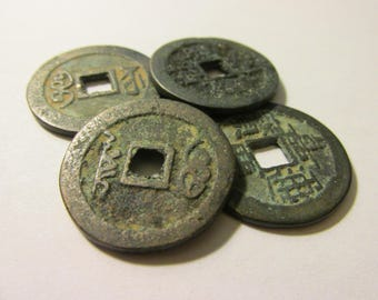 "Chinese Bronze Metal Coins with Patina, 1"", Set of 4"