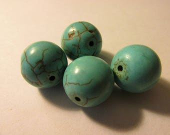 Round Turquoise Howlite Beads, 15mm, Set of 4