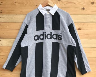 Rare! Vintage Adidas Rugby Spellout Striped Design Polo Shirt Size XL