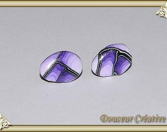 Earrings violet purple black oval 114006