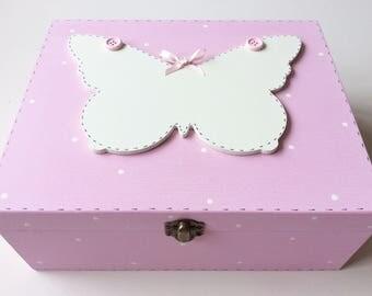 Personalised Keepsake Box - Memory Box, Keepsake Box, Baby Keepsake Box, Butterflies, Personalised Box, Christening Gift, Birth Gift.