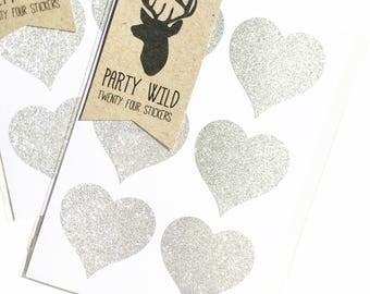 Heart Stickers Pk24 - Glitter Silver