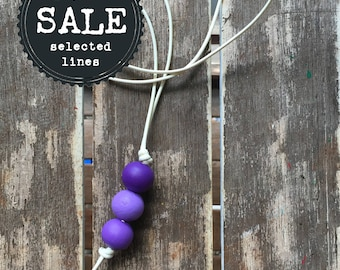 ombre purple pendant painted wooden bead necklace/lanyard