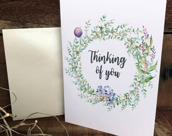 thinking of you wreath, sympathy greeting card