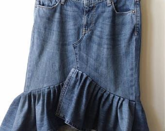 Women's Reconstructed Asymmetrical DENIM RUFFLE SKIRT, Size 10