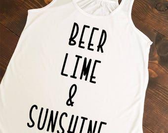 BEER LIME & SUNSHINE, summer tank, summer time, summer vibes, summer