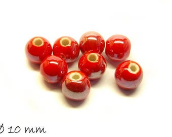 10pcs porcelain beads Ø 10 mm mother of Pearl Red