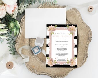 Printable Bridal Shower Invitation & Thank You Cards - 5x7 Invites - DIY Adobe Reader PDF Editable Template - Instant Download - BSI01
