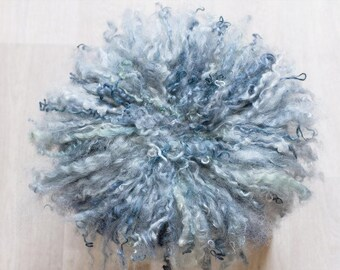 Blue Emerald, curly, matted, photo prop wool carpet