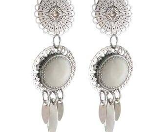 Earring clip white Arizona (made in France)