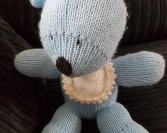Handmade Knitted Blue Teddy Bear Toy