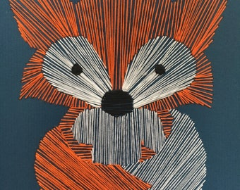 Cute and Cuddly Fox Hand Stitched, String Art, Wall Art, Home Decor
