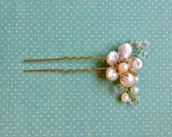 Wedding Hair Pins, Flower Hair Pins, Bridal Hair Pins, Pearl Flower Hair Pin, Wedding Hair Accessory, Pearl Crystal Hair Pin
