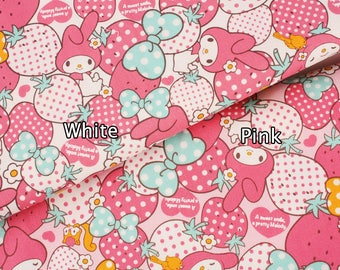 "My Melody Character Fabric made in Japan FQ 45cm by 53cm or 18"" by 21"""