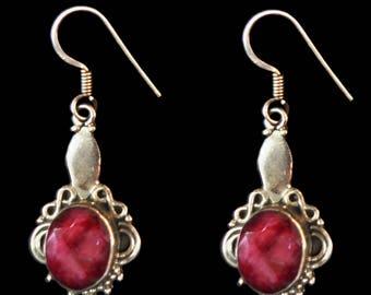 Ruby Silver Earrings