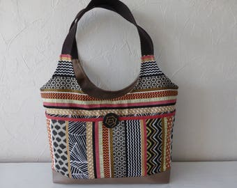 Handbag, jacquard, ethnic, multicolor fabric and beige leatherette