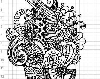 Coffee Zentangle Design SVG pdf eps dxf Studio 3 Cut Files