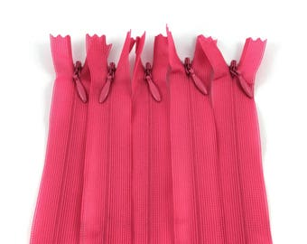 Set of 5 invisible zippers 20 cm not separable fuchsia