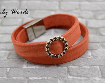 women brick orange leather bracelet + silver plated red rhinestone circle