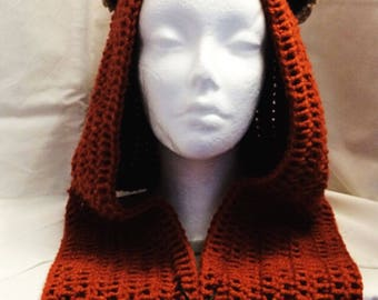 Star Wars Ewok inspired hood adult size (teddy bear ears) unique design with larger scarf, Wicket Hoodie Yub Nub Scoodie BCEwokAd