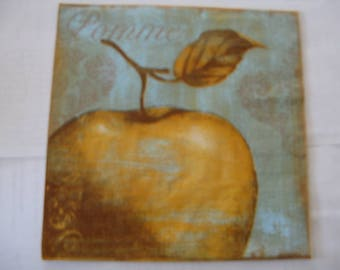 set of 2 napkins Apple gold ancient style