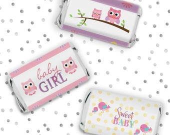 Pink Owl Girl Baby Shower Decorations Party Favor Stickers for Hershey's Miniatures Candy Bars - 54 Count