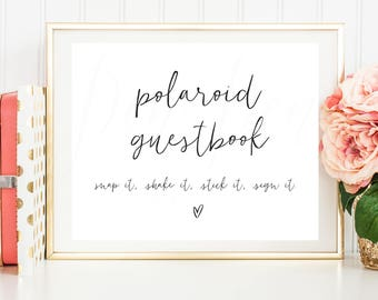 Polaroid Guestbook sign, Polaroid wedding guest book, photo guest book printable, polaroid guest book instructions, instant download, photo