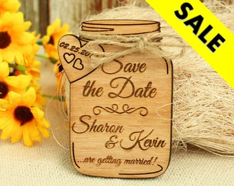 Mason Jar save the date magnet wedding save the date wood save the date wood wedding save the date rustic wedding save the date unique