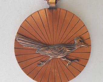 Vintage Extra Long Copper Pendant Necklace, Solid Copper Roadrunner Pendant on Copper Chain Link Necklace, Minimalist Copper Roadrunner