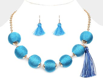 Blue Thread Balls Necklace with Tassel and Earrings